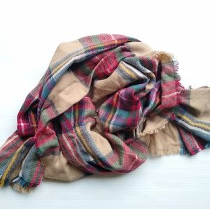 Plaid oversized chunky flannel blanket scarf